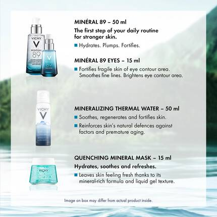 HYDRATE & STRENGTHEN Gift set: Minéral 89 with Hyaluronic Acid and Mineralizing Thermal Water 50ML