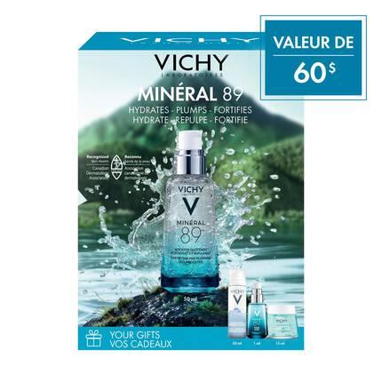 HYDRATE ET RENFORCE Coffret Cadeau: Minéral 89 avec Acide Hyaluronique et d'Eau Thermale Minéralisante de Vichy